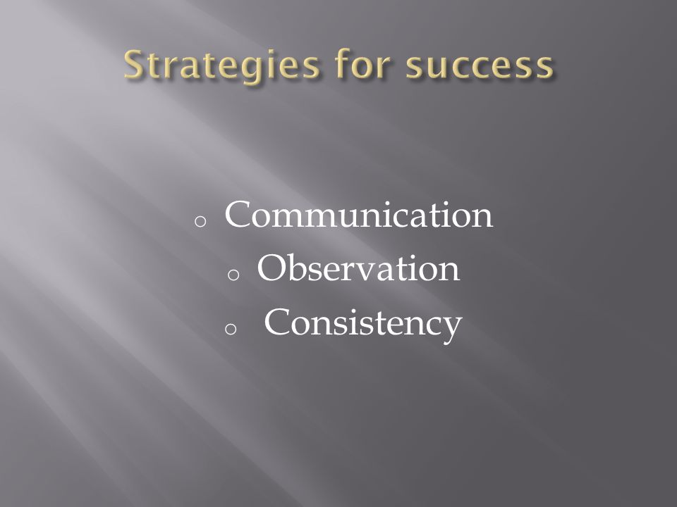 o Communication o Observation o Consistency