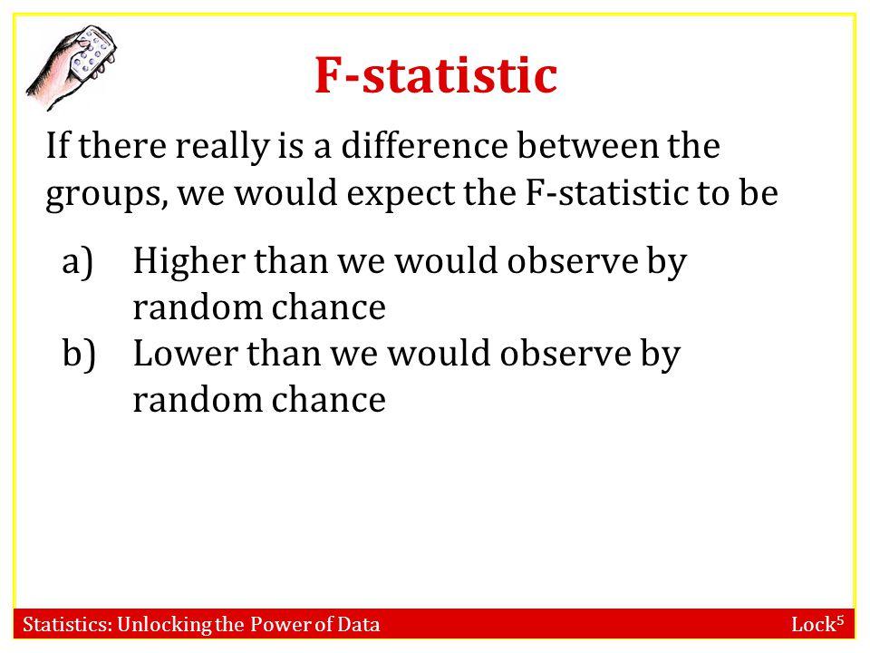 Statistics: Unlocking the Power of Data Lock 5 Cuckoo Eggs Source Groups Error Total df 4 115 119 Sum of Squares 35.90 101.29 137.19 Mean Square 35.9/4 = 8.97 101.29/115 = 0.88 F Statistic 8.97/0.88 = 10.19