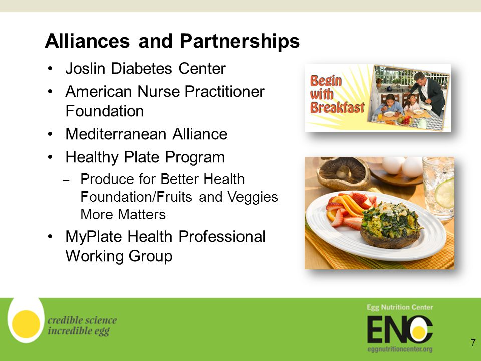 Alliances and Partnerships Joslin Diabetes Center American Nurse Practitioner Foundation Mediterranean Alliance Healthy Plate Program Produce for Better Health Foundation/Fruits and Veggies More Matters MyPlate Health Professional Working Group 7