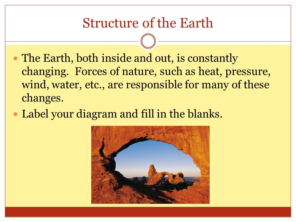 Structure of the Earth The Earth, both inside and out, is constantly changing.