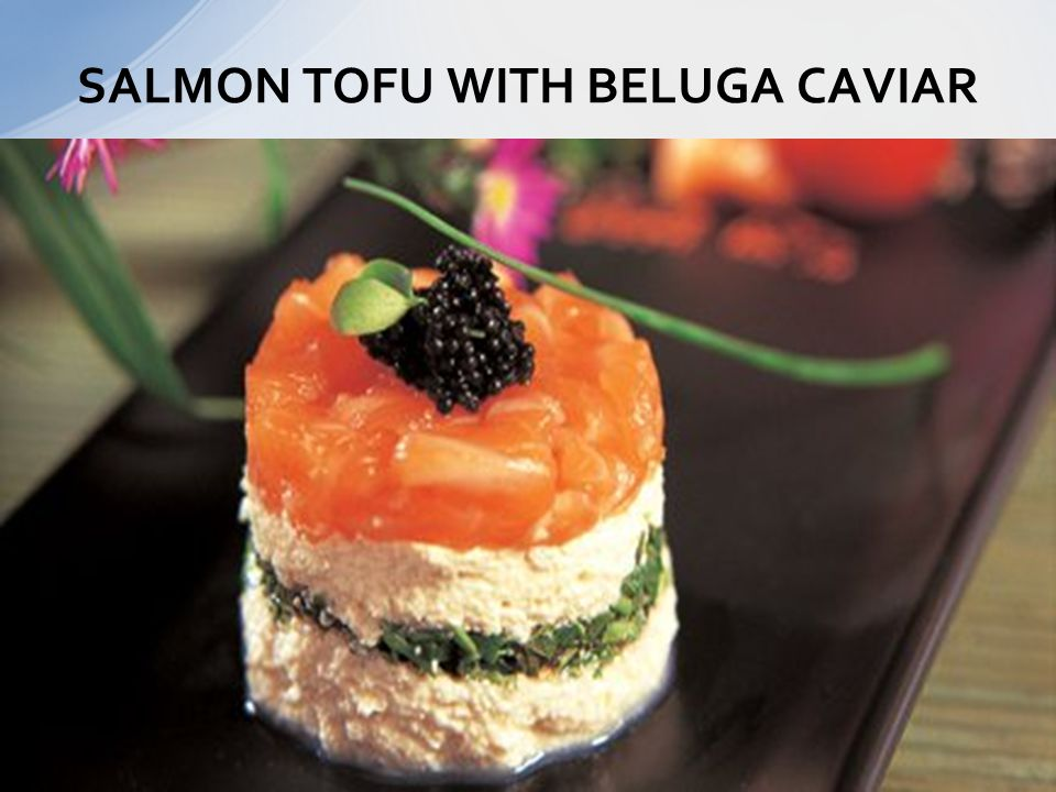 SALMON TOFU WITH BELUGA CAVIAR