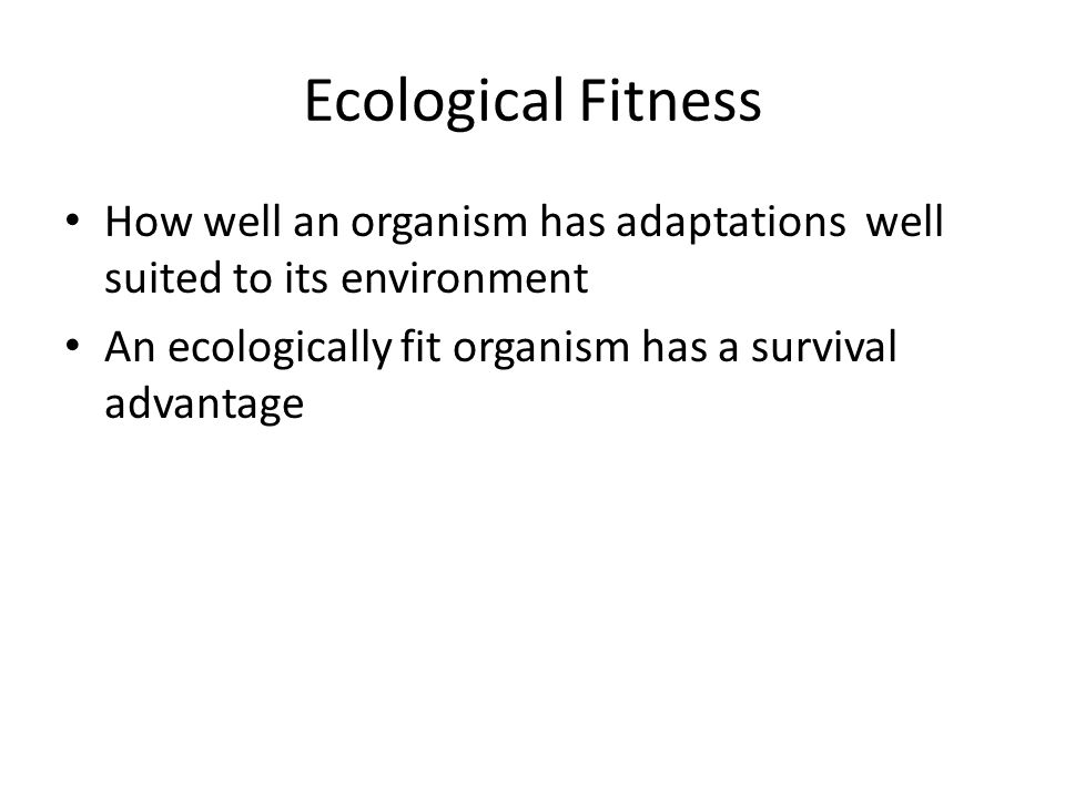 Ecological Fitness How well an organism has adaptations well suited to its environment An ecologically fit organism has a survival advantage