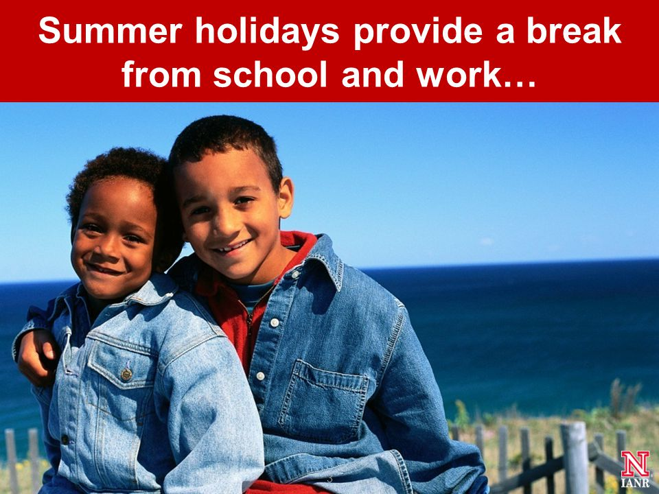 Summer holidays provide a break from school and work… 3