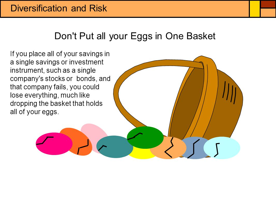Diversification and Risk Portfolio a collection of financial investments held by an individual or financial organization Diversification investing in various financial instruments in order to reduce risk