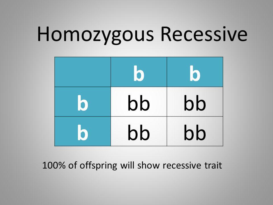 bb bbb b Homozygous Recessive 100% of offspring will show recessive trait