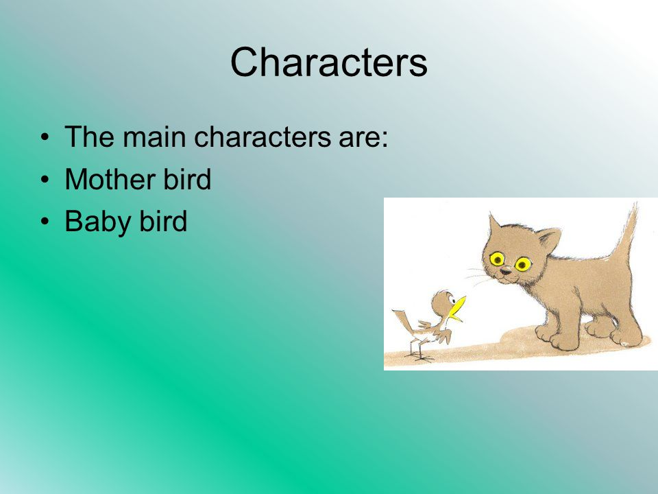 Characters The main characters are: Mother bird Baby bird