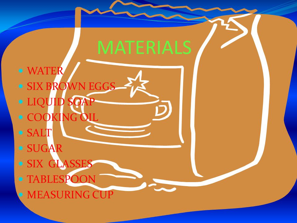 PROCEDURES 1.FILL CUP UP WITH ONE CUP OF WATER 2.PLACE BROWN EGG IN WATER 3.PUT TABLESPOONS OF SALT ONE AT A TIME TILL EGG FLOATS 4.RECORD DATA 5.REPEAT WITH SALT AND LIQUID SOAP, SALT AND COOKING OIL, SUGAR AND WATER, SUGAR AND COOKING OIL, SUGAR AND LIQUID SOAP