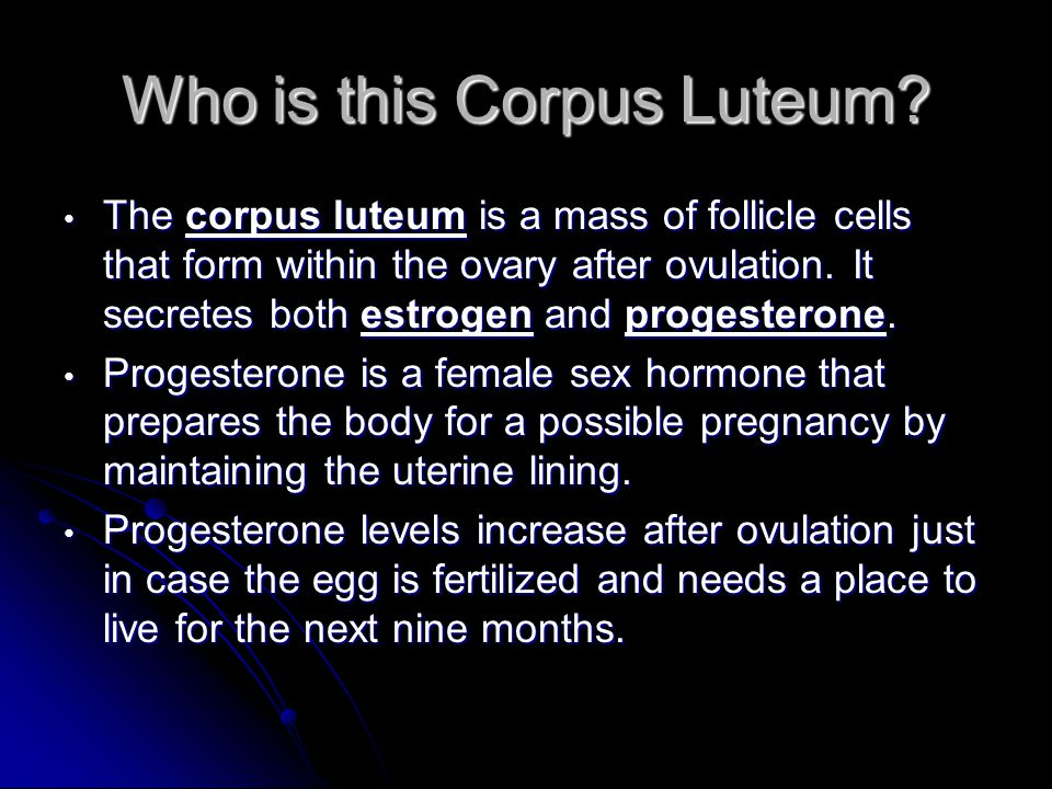 Who is this Corpus Luteum? The corpus luteum is a mass of follicle cells that form within the ovary after ovulation. It secretes both estrogen and pro
