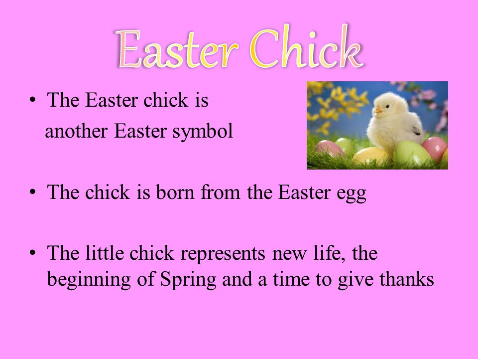 The Easter chick is another Easter symbol The chick is born from the Easter egg The little chick represents new life, the beginning of Spring and a time to give thanks