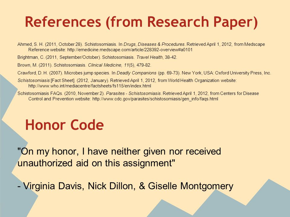 References (from Research Paper) Ahmed, S. H. (2011, October 28).
