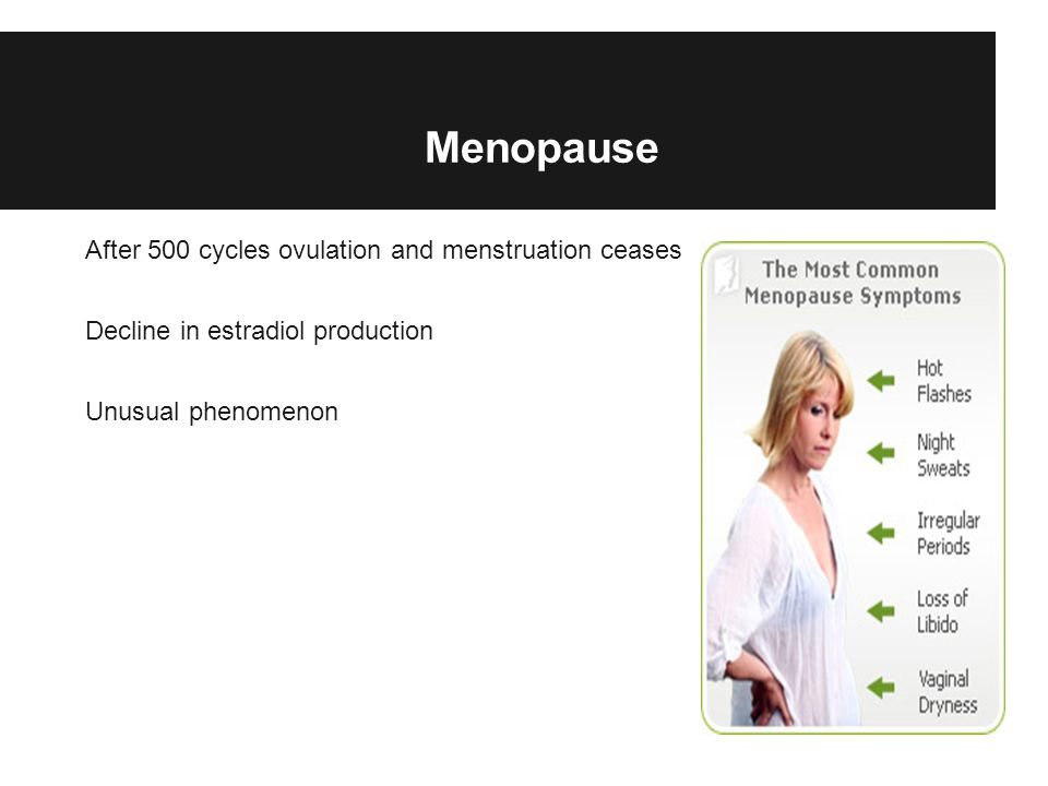Menopause After 500 cycles ovulation and menstruation ceases Decline in estradiol production Unusual phenomenon