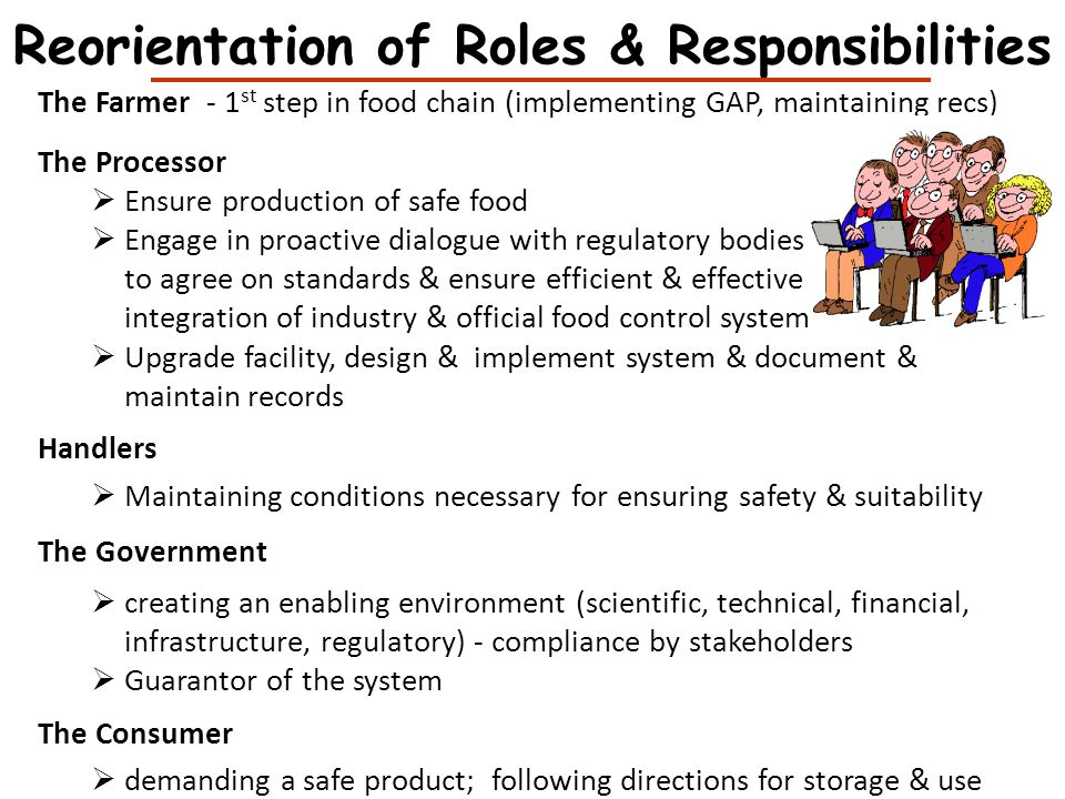 Reorientation of Roles & Responsibilities The Farmer - 1 st step in food chain (implementing GAP, maintaining recs) The Processor Ensure production of