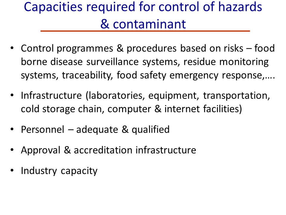 Capacities required for control of hazards & contaminant Control programmes & procedures based on risks – food borne disease surveillance systems, res
