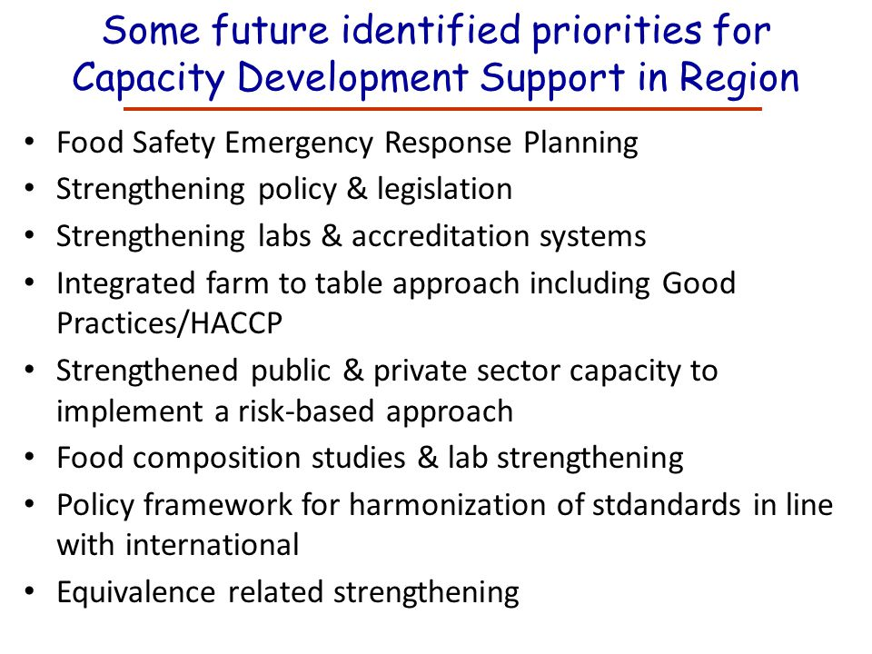 Some future identified priorities for Capacity Development Support in Region Food Safety Emergency Response Planning Strengthening policy & legislatio
