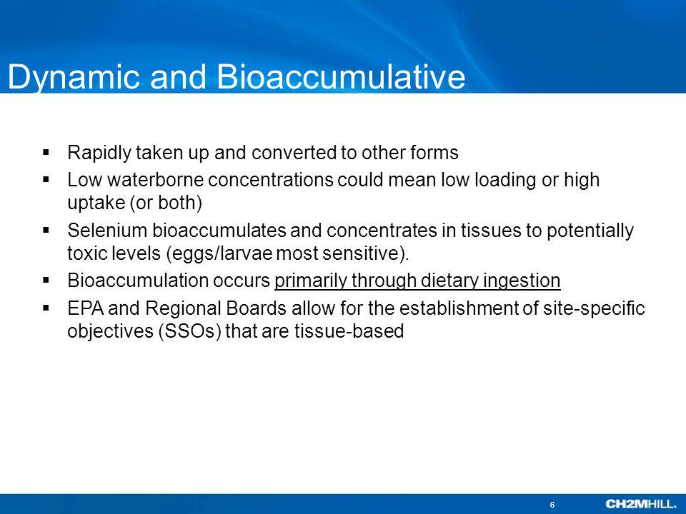 Dynamic and Bioaccumulative Rapidly taken up and converted to other forms Low waterborne concentrations could mean low loading or high uptake (or both