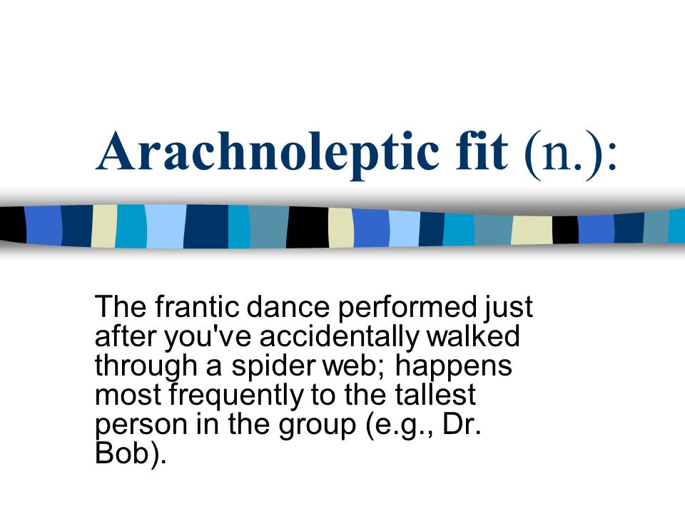Arachnoleptic fit (n.): The frantic dance performed just after you ve accidentally walked through a spider web; happens most frequently to the tallest person in the group (e.g., Dr.