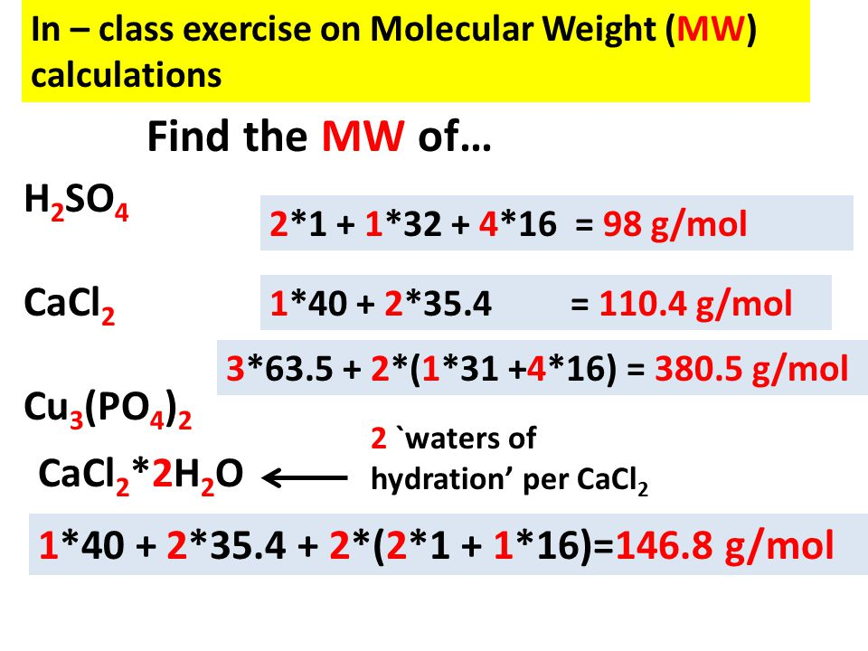 In – class exercise on Molecular Weight (MW) calculations H 2 SO 4 CaCl 2 Cu 3 (PO 4 ) 2 2*1 + 1*32 + 4*16 = 98 g/mol 1*40 + 2*35.4 = 110.4 g/mol 3*63