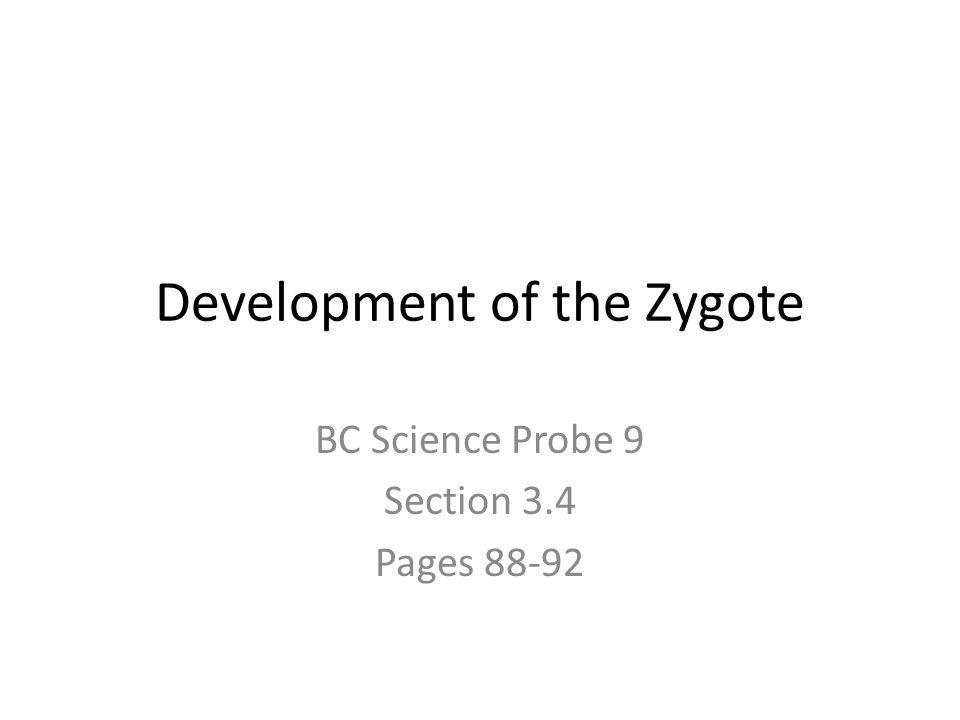 Development of the Zygote BC Science Probe 9 Section 3.4 Pages 88-92