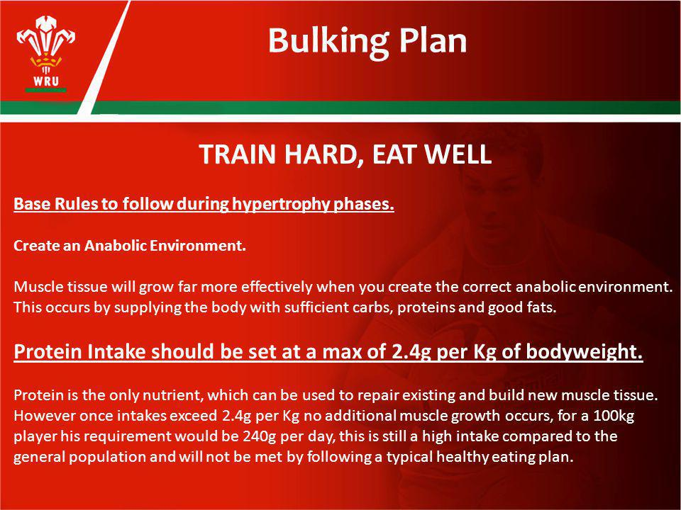 Bulking Plan TRAIN HARD, EAT WELL Base Rules to follow during hypertrophy phases.