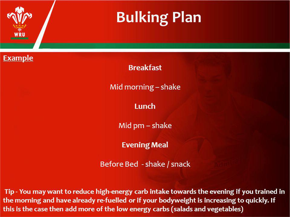 Example Breakfast Mid morning – shake Lunch Mid pm – shake Evening Meal Before Bed - shake / snack Tip - You may want to reduce high-energy carb intake towards the evening if you trained in the morning and have already re-fuelled or if your bodyweight is increasing to quickly.