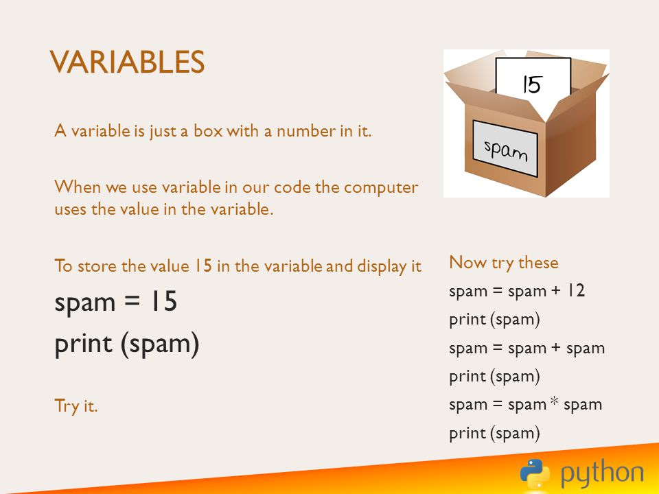 VARIABLES A variable is just a box with a number in it.