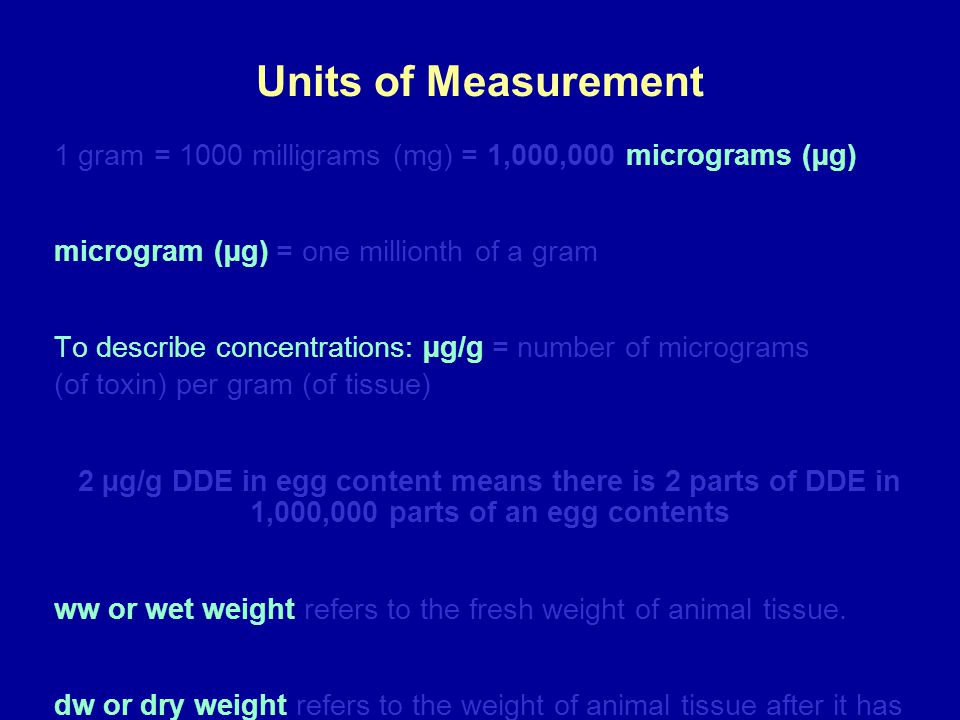 Units of Measurement 1 gram = 1000 milligrams (mg) = 1,000,000 micrograms (µg) microgram (µg) = one millionth of a gram To describe concentrations: µg