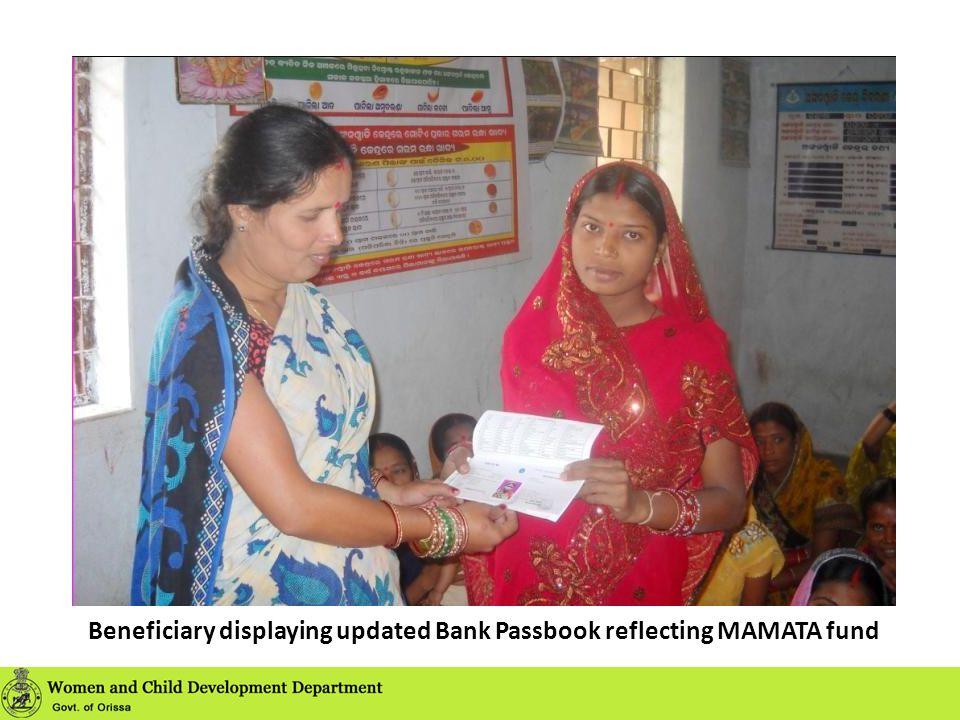Beneficiary displaying updated Bank Passbook reflecting MAMATA fund