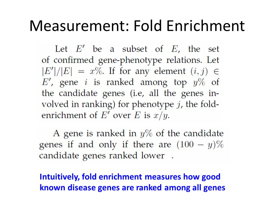 Measurement: Fold Enrichment Intuitively, fold enrichment measures how good known disease genes are ranked among all genes