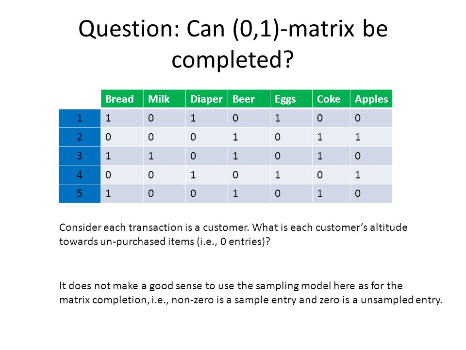 Question: Can (0,1)-matrix be completed.