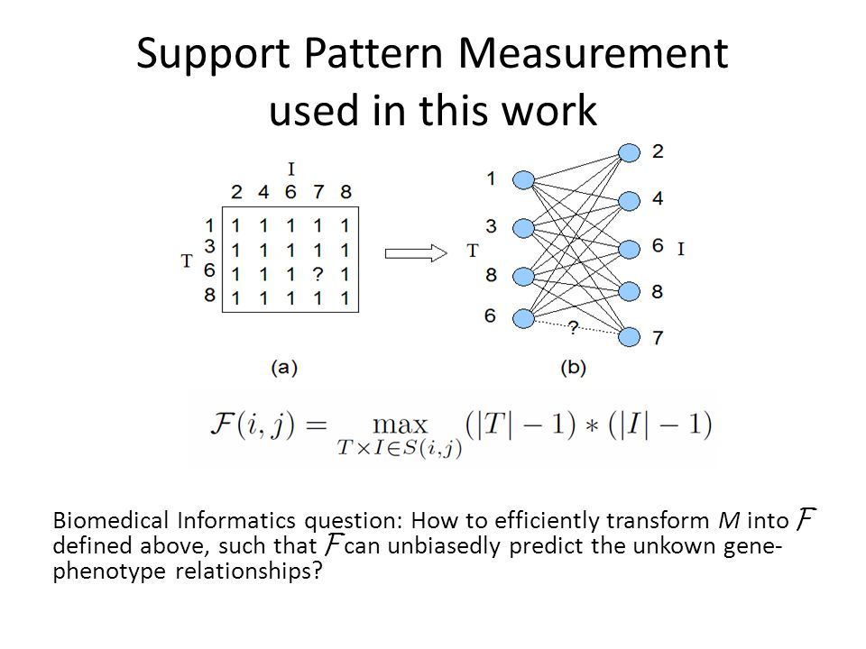 Support Pattern Measurement used in this work Biomedical Informatics question: How to efficiently transform M into F defined above, such that F can unbiasedly predict the unkown gene- phenotype relationships