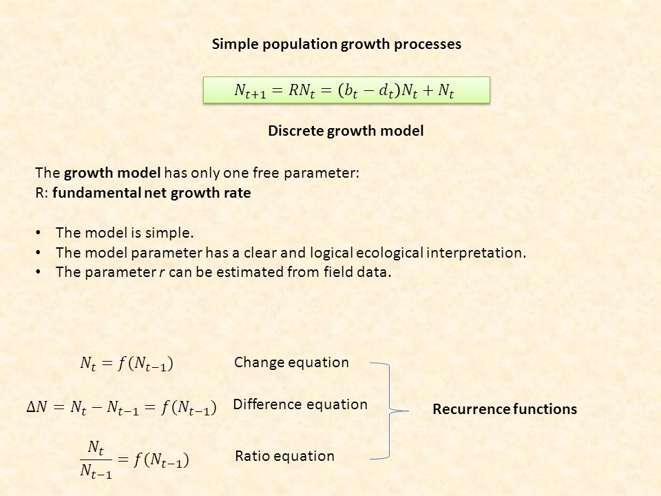 Simple population growth processes Change equation Difference equation Ratio equation Recurrence functions Discrete growth model The growth model has