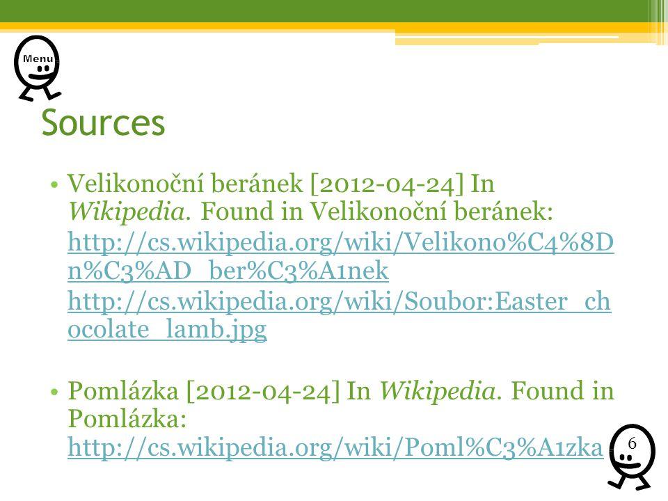Sources Velikonoční beránek [2012-04-24] In Wikipedia.