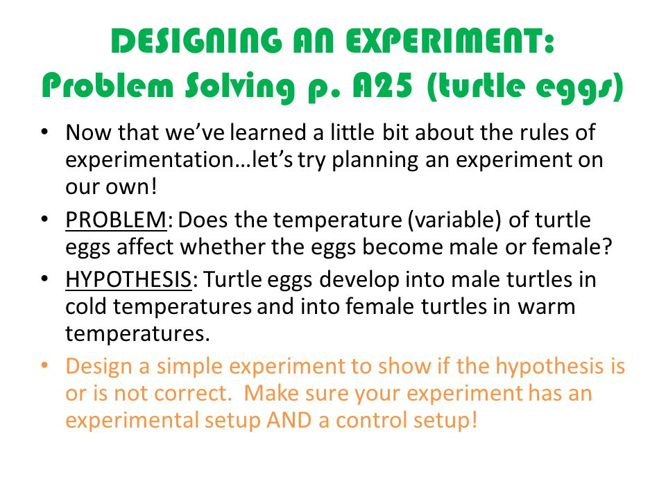 DESIGNING AN EXPERIMENT: Problem Solving p.