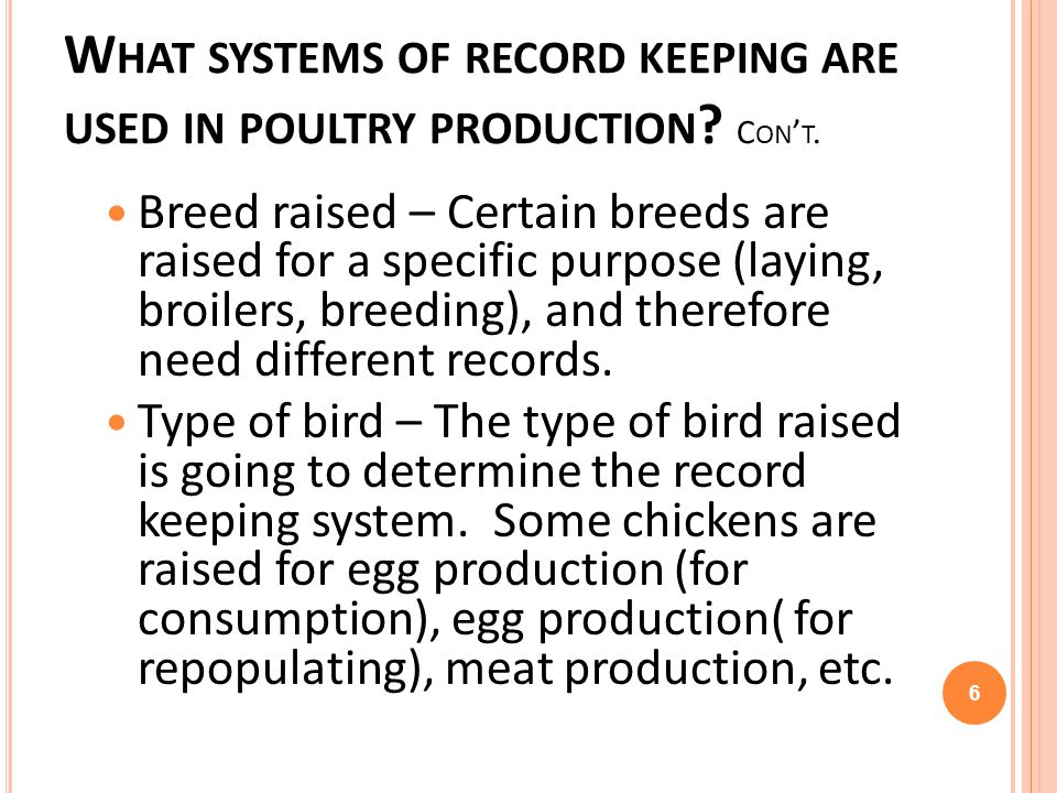 W HAT SYSTEMS OF RECORD KEEPING ARE USED IN POULTRY PRODUCTION ? C ON T. Breed raised – Certain breeds are raised for a specific purpose (laying, broi