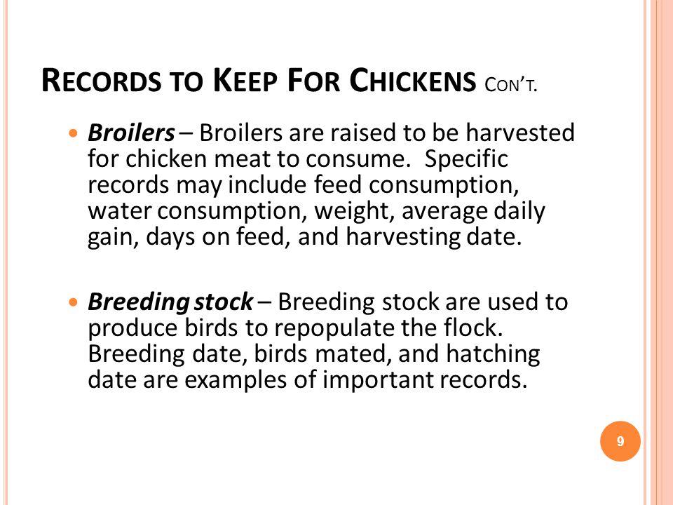 Turkeys require specific records.