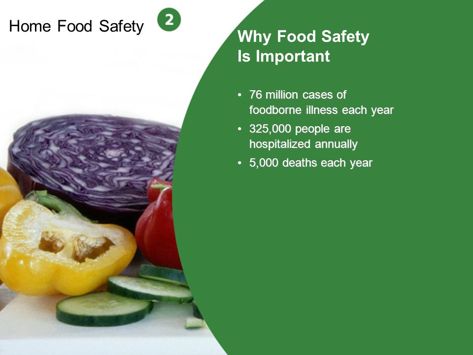 3 Home Food Safety Why Food Safety Is Important 76 million cases of foodborne illness each year 325,000 people are hospitalized annually 5,000 deaths