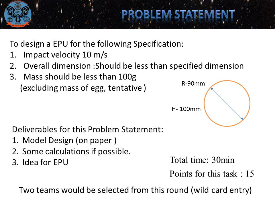 To design a EPU for the following Specification: 1.Impact velocity 10 m/s 2.Overall dimension :Should be less than specified dimension 3.Mass should be less than 100g (excluding mass of egg, tentative ) R-90mm H- 100mm Deliverables for this Problem Statement: 1.Model Design (on paper ) 2.Some calculations if possible.
