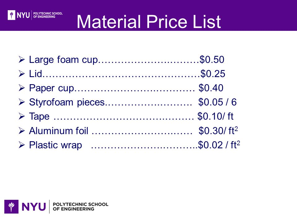 Material Price List Large foam cup………………….………$0.50 Lid…………………………………………$0.25 Paper cup…………………….………… $0.40 Styrofoam pieces.…………….………. $0.05 / 6 Tape ……