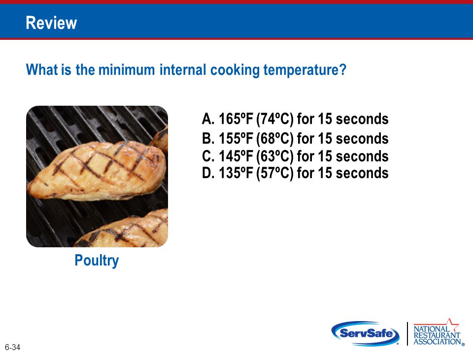 A. 165ºF (74ºC) for 15 seconds B. 155ºF (68ºC) for 15 seconds 6-34 Review Poultry C.