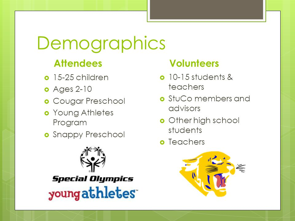 Demographics Volunteers 10-15 students & teachers StuCo members and advisors Other high school students Teachers Attendees 15-25 children Ages 2-10 Cougar Preschool Young Athletes Program Snappy Preschool