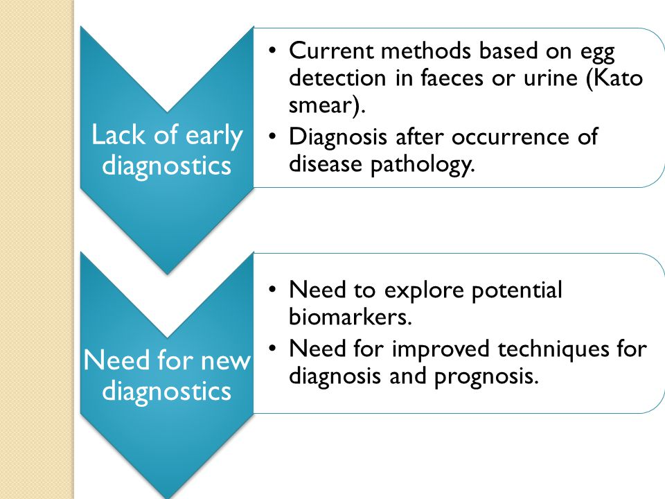 Lack of early diagnostics Current methods based on egg detection in faeces or urine (Kato smear).