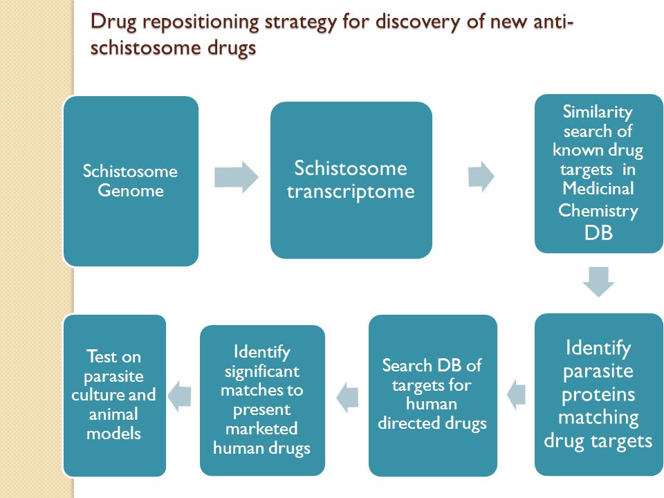 Schistosome Genome Schistosome transcriptome Similarity search of known drug targets in Medicinal Chemistry DB Identify parasite proteins matching drug targets Search DB of targets for human directed drugs Identify significant matches to present marketed human drugs Test on parasite culture and animal models Drug repositioning strategy for discovery of new anti- schistosome drugs