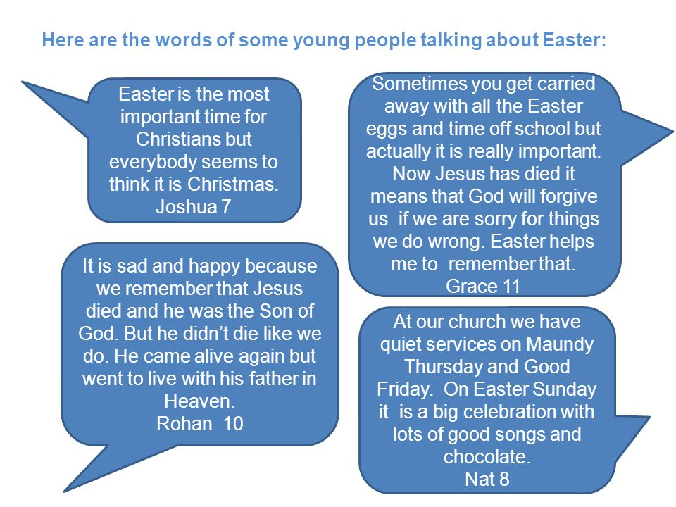 Easter is the most important time for Christians but everybody seems to think it is Christmas. Joshua 7 It is sad and happy because we remember that J