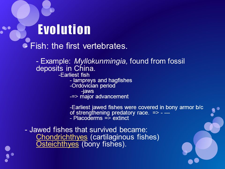 - Fish: the first vertebrates.- Example: Myllokunmingia, found from fossil deposits in China.