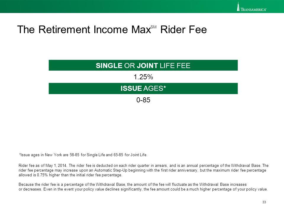 33 Rider fee as of May 1, 2014.