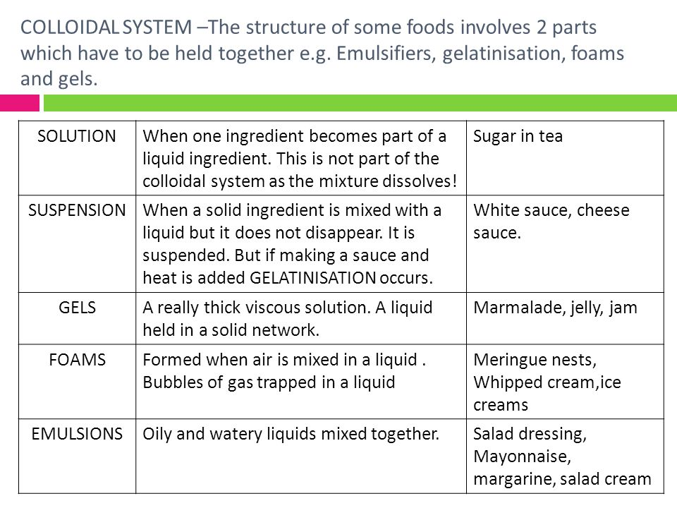 COLLOIDAL SYSTEM –The structure of some foods involves 2 parts which have to be held together e.g. Emulsifiers, gelatinisation, foams and gels. SOLUTI