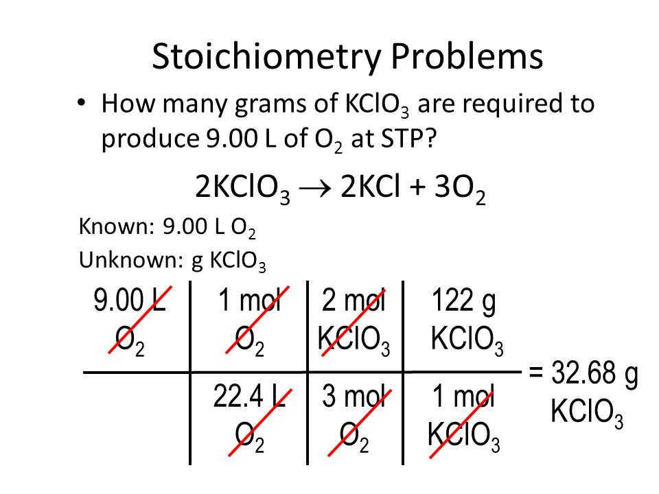 Stoichiometry Problems How many grams of KClO 3 are required to produce 9.00 L of O 2 at STP.
