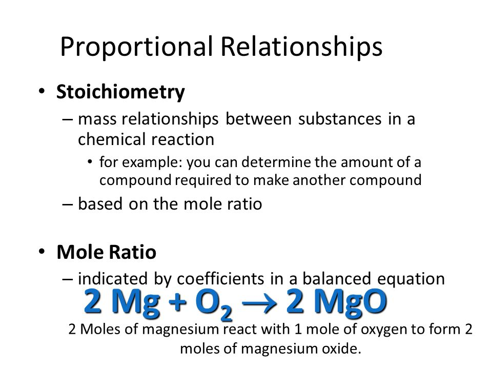 Proportional Relationships Stoichiometry Stoichiometry – mass relationships between substances in a chemical reaction for example: you can determine the amount of a compound required to make another compound – based on the mole ratio Mole Ratio Mole Ratio – indicated by coefficients in a balanced equation 2 Mg + O 2 2 MgO 2 Moles of magnesium react with 1 mole of oxygen to form 2 moles of magnesium oxide.
