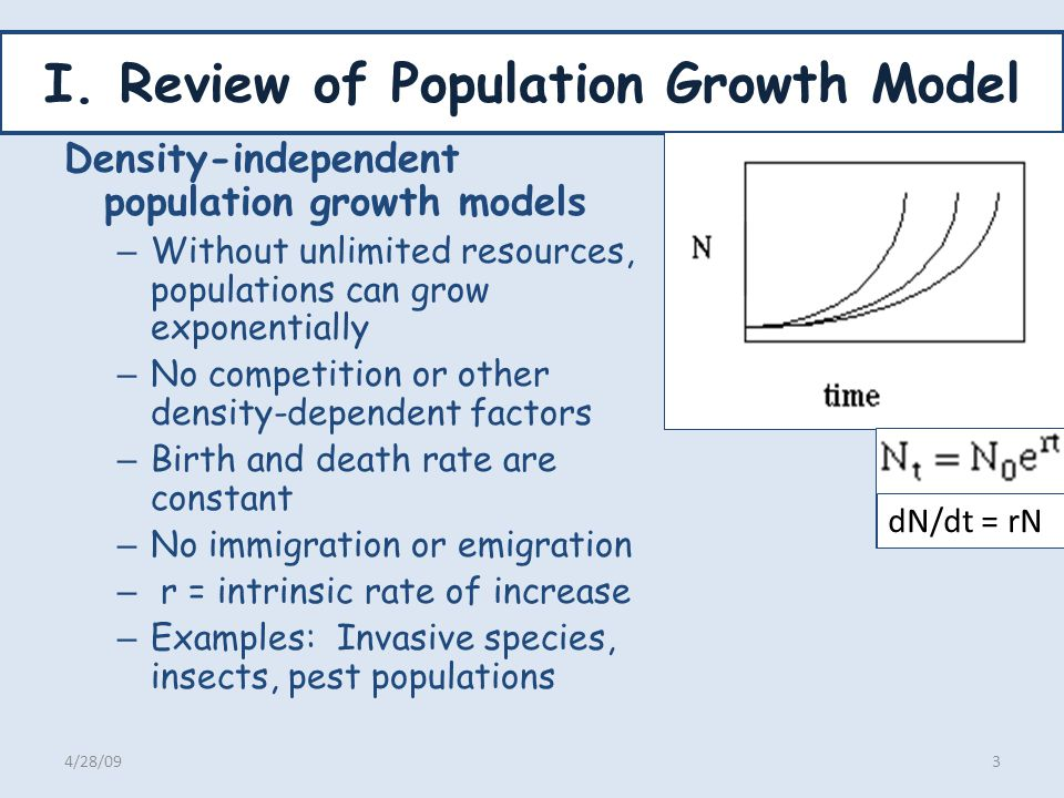 Population Growth Models, contd Density Dependent Growth Population growth can be describe be logistic equation K=carrying capacity of environment for that species – Determined by resources – Modified by landscape change, habitat quality change, – Reduced by competition from invasive species, Modify exponential growth model by adding a resistance factor Examples 4/28/094 dN/dt= rN [(K N)/K} =rN{1-(N/K)]