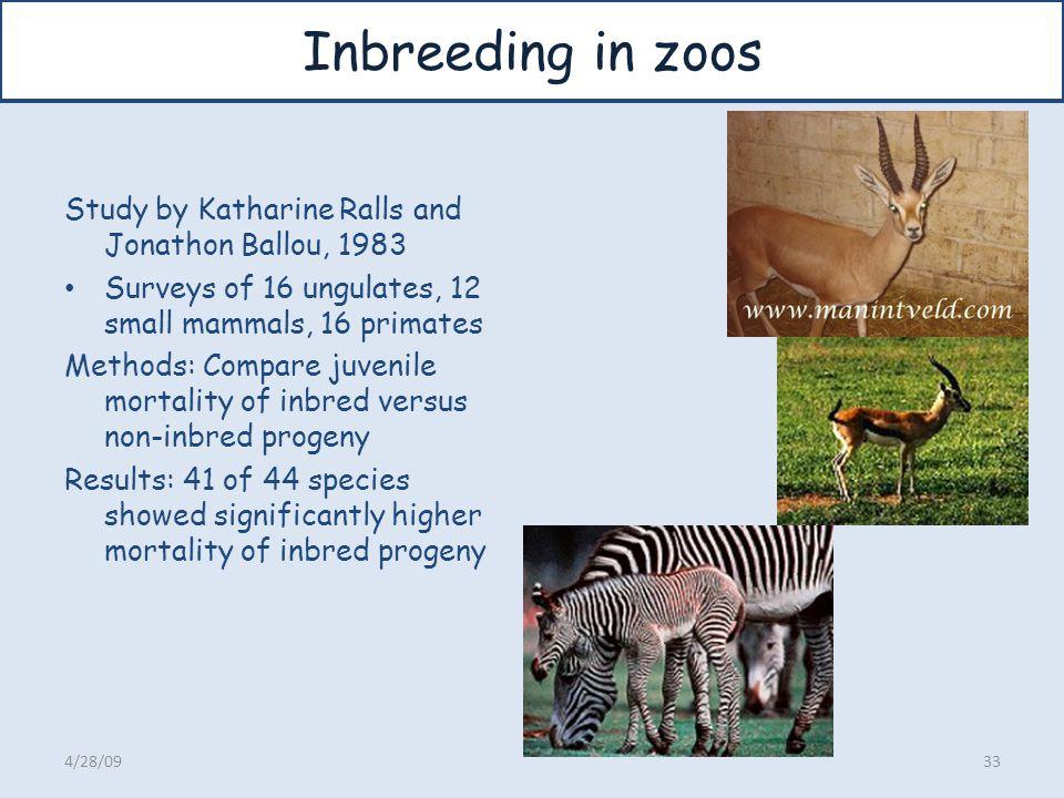 Inbreeding in zoos Study by Katharine Ralls and Jonathon Ballou, 1983 Surveys of 16 ungulates, 12 small mammals, 16 primates Methods: Compare juvenile